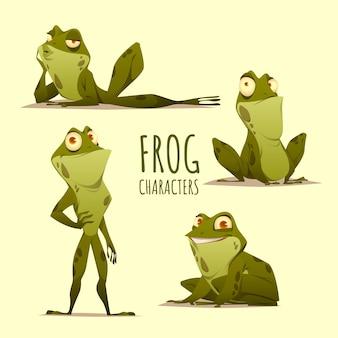 Flache froschcharakterillustration