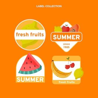Flache früchteetikettenkollektion