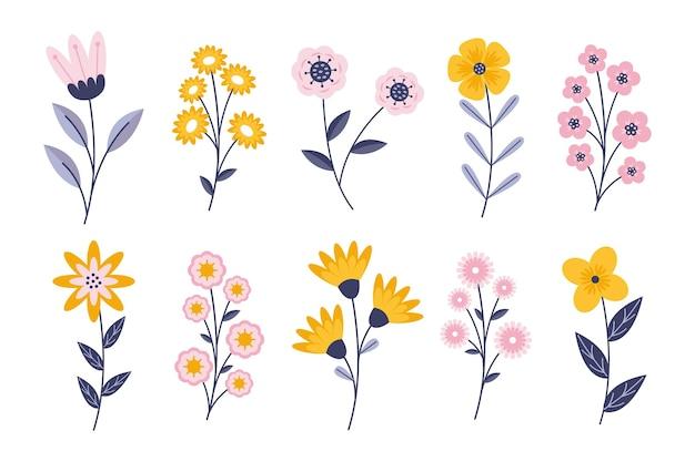 Flache frühlingsblumensammlung