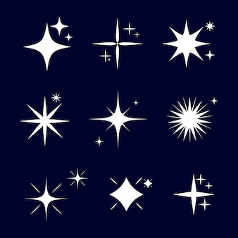 Flache funkelnde sterne kollektion