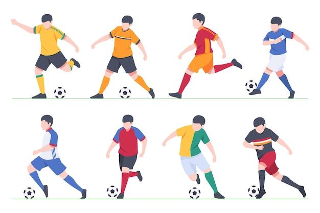 Flache fußballspieler-kollektion
