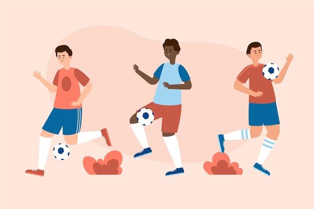 Flache fußballspielergruppe