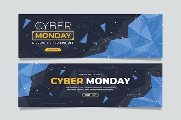 Flache futuristische cyber monday horizontale banner eingestellt