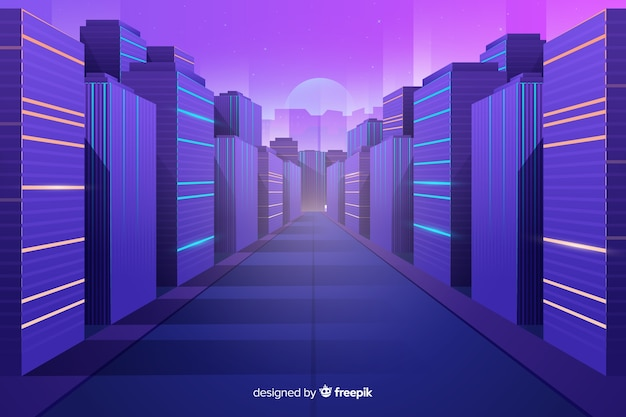 Flache futuristische stadt hintergrund