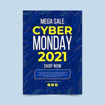 Flache futuristische vertikale plakatvorlage für cyber-montag