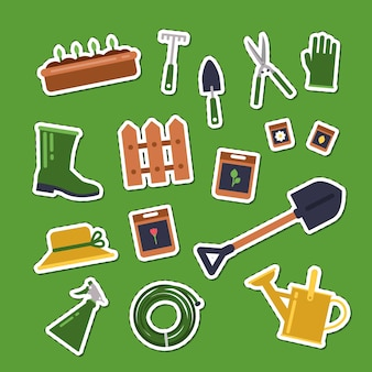Flache gartenikonenaufkleber setzen illustration. sammlung von werkzeugen