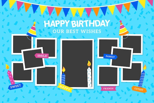 Flache geburtstag collage frames pack