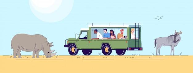 Flache gekritzelillustration der safari-expedition