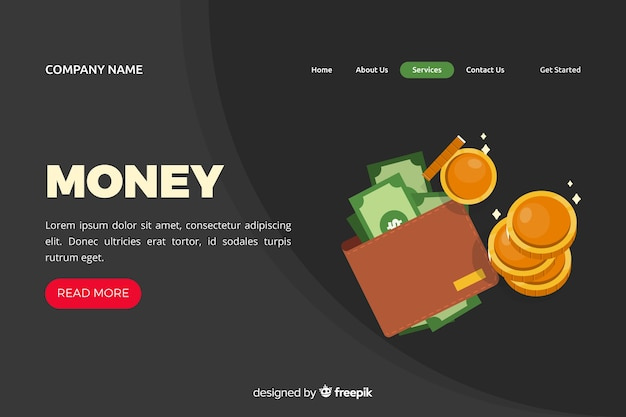 Flache geld-landing-page