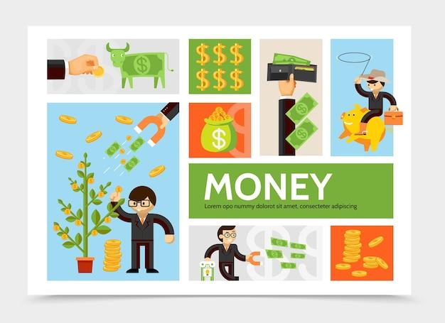 Flache geld- und währungsinfografikschablone mit geldbaummünzen-geschäftsmann-dollarkuh-brieftaschen-finanzmagnet