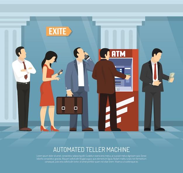 Flache geldautomat abbildung