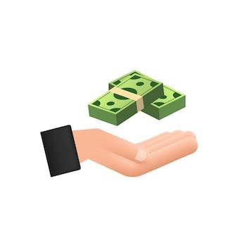 Flache geldhand für konzeptdesign. hand, die banknoten des grünen geldes hält flaches design.