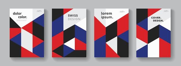 Flache geometrische abdeckungen vektordesign. bunte moderne komposition. minimales muster.