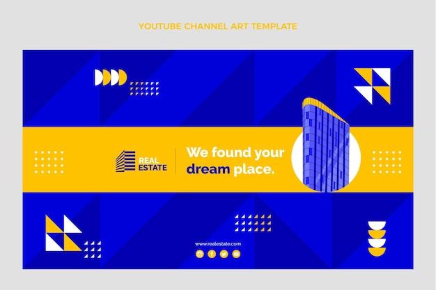 Flache geometrische immobilien-youtube-kanal