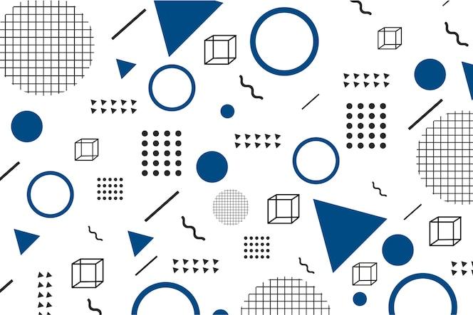 Flache geometrische modelle auf klassischem blauem hintergrund
