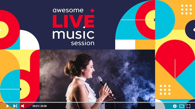 Flache geometrische musik youtube thumbnail-vorlage