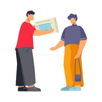 Flache gerätegeschäftsillustration mit dem charakter des kunden, der toaster und verkäufer kauft