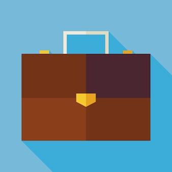Flache geschäftsbüro-koffer-illustration mit langem schatten. zurück zu schule und bildung vektor-illustration. flat style bunte bug-objekt. geschäftsleben