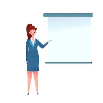 Flache geschäftsfrau pointig bei leerem präsentationsdiagramm. süßes büromädchen