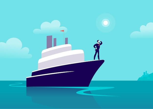 Flache geschäftsillustration mit geschäftsmann, der auf schiff durch ozean in richtung stadt segelt