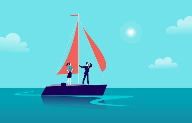 Flache geschäftsillustration mit geschäftsmanndame, die auf schiff durch ozean auf blauem himmel segelt