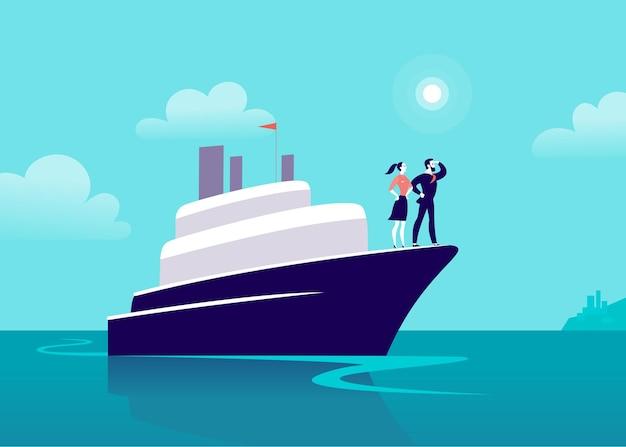 Flache geschäftsillustration mit geschäftsmanndame, die auf schiff durch ozean in richtung stadt segelt