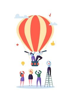 Flache geschäftsleute, die auf luftballon fliegen