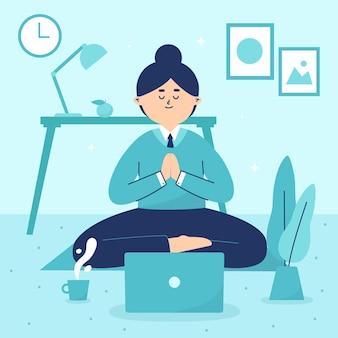 Flache geschäftsperson, die meditiert