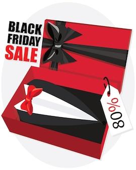 Flache geschenkbox für papa mit accessoires-objekten zeichen der saison der smoking-anzug. schwarzer freitag verkaufsbanner.