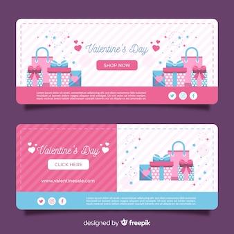 Flache geschenke valentinstag verkauf banner
