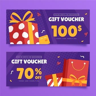 Flache geschenkgutschein-banner-set