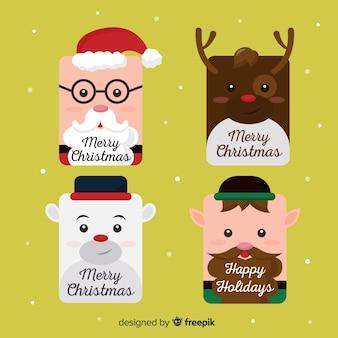Flache gesichter weihnachten label collection