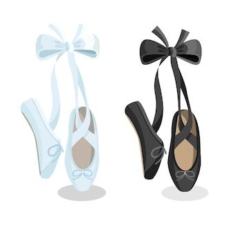Flache gestaltung der weiblichen ballettschuhe der schwarzweiss-punkte auf weißem hintergrund. illustration von gymnastikballettschuhen, die auf zehenspitzen-webbanner stehen.