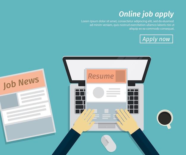 Flache gestaltung des online-jobs bewerben