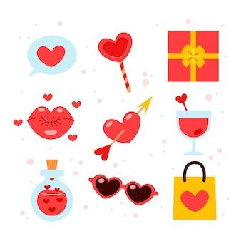 Flache gestaltungselementsammlung für valentinstag