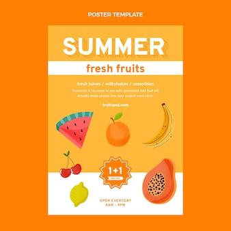 Flache, gesunde früchte-plakatschablone