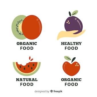 Flache, gesunde lebensmittel-logos