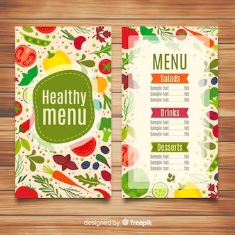 Flache gesunde menüvorlage