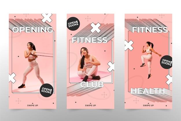 Flache gesundheits- und fitnessgeschichte mit foto