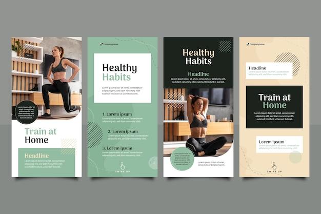 Flache gesundheits- und fitnessgeschichtensammlung mit foto
