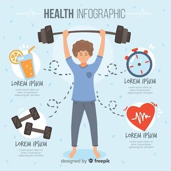 Flache gesundheitsinfografiken von sportlern