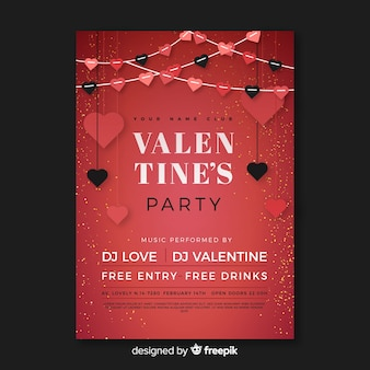 Flache girlande valentinstag party poster
