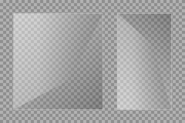 Flache glasplatten eingestellt. windows-banner auf transparentem hintergrund. reflexion 3d-platte, klare spiegel, fenster. glitzer-rechteck-display blendglasrahmen. vektor