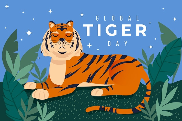Flache globale tiger-tagesillustration