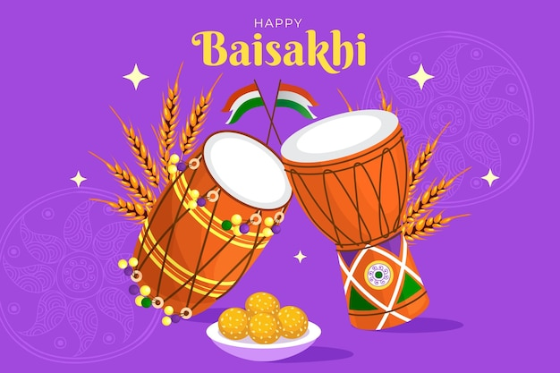 Flache glückliche baisakhi illustration