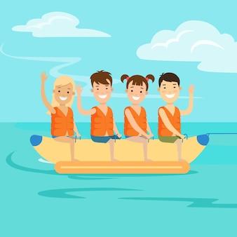 Flache glückliche kinder, die auf bananenvektorillustration reiten wassersport- und aktivitätskonzept kinder auf