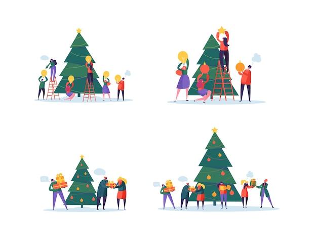 Flache glückliche leute, die weihnachtsbaum verzieren
