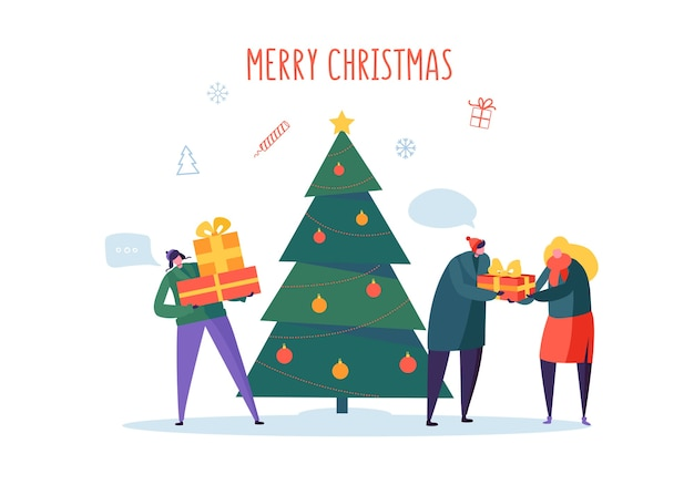 Flache glückliche leute mit geschenken und weihnachtsbaum