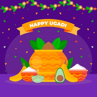 Flache glückliche ugadi illustration