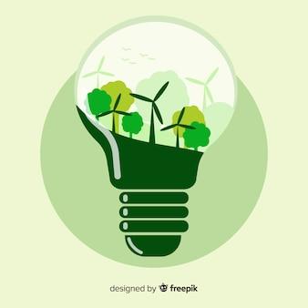 Flache glühbirne mit windkraftanlagen